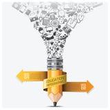 Bildung und Lernen-Schritt Infographic mit gewundenem Pfeil-Bleistift Lizenzfreies Stockbild