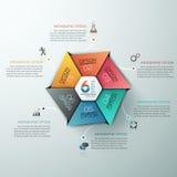Bildung und Staffelung Infographic mit Hexagon-Diagramm-Design-Schablone lizenzfreie abbildung