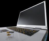 Bildung und Technologiekonzept mit Notizbuch Lizenzfreie Stockbilder
