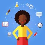 Bildung und Wissenschaft vector Hintergrund mit Afroamerikanermädchen Modernes flaches Design Stockbilder