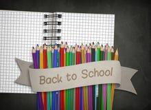 Bildung, zurück zu Schulkonzept, Notizblock, Tafel Stockbilder