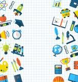 Bildungs-flach bunte einfache Ikonen Lizenzfreies Stockbild