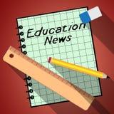 Bildungs-Nachrichten stellen Illustration des Social Media-3d dar Stockfotografie