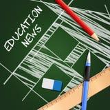 Bildungs-Nachrichten zeigen Illustration des Social Media-3d an Stockfotos