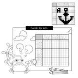 Bildungs-Rätselspiel für Schulkinder anker Japanisches Schwarzweiss-Kreuzworträtsel mit Antwort stock abbildung