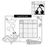 Bildungs-Rätselspiel für Schulkinder Kirsche Japanisches Schwarzweiss-Kreuzworträtsel mit Antwort Lizenzfreie Stockfotos