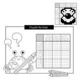Bildungs-Rätselspiel für Schulkinder Shell mit Perle Japanisches Schwarzweiss-Kreuzworträtsel mit Antwort Lizenzfreie Stockbilder