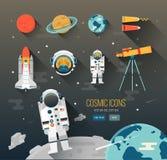 Bildungs-Raumillustration des Vektors flache planeten Stockbilder