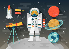Bildungs-Raumillustration des Vektors flache planeten Stockbild