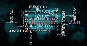 Bildungs-Schule und Training fasst Wolkentypographieanimation ab Lizenzfreies Stockbild