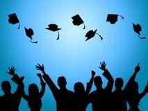 Bildungs-Staffelung zeigt Grad-Zeremonie und Vollenden an lizenzfreie abbildung