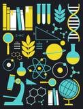 Bildungs-und Wissenschafts-Ikonen-Satz Stockfoto