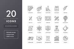 Bildungs-und Wissenschafts-Linie Ikonen Lizenzfreie Stockfotos