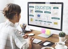 Bildungs-Wissens-Studien-Ikonen-Konzept Stockfotografie