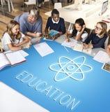 Bildungs-Wissenschafts-Physik-grafisches Ikonen-Konzept Lizenzfreie Stockbilder