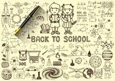 Bildungsgekritzel, zurück zu Schulkonzept auf Papier mit Füllfederhalter 3d Stockbild