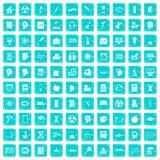 100 Bildungsikonen stellten Schmutz blau ein Stockfotos