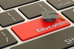 Bildungsknopf, roter Schlüssel auf Tastatur Wiedergabe 3d Stockfoto