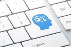 Bildungskonzept: Finanzsymbol auf Computertastatur backgroun Stockfotografie