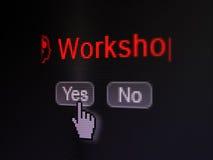 Bildungskonzept: Gehen Sie mit Gang-Ikone und Seminar über Digitalrechnerschirm voran Lizenzfreies Stockfoto
