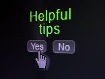 Bildungskonzept: Hilfreiche Tipps auf Digitalrechnerschirm Lizenzfreie Stockfotografie