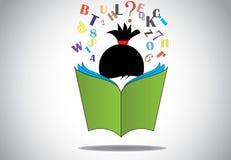 Bildungskonzept junges intelligentes des Mädchenkinderablesengrünes offenen Buches 3d Stockfoto