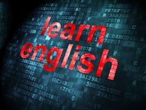 Bildungskonzept: Lernen Sie Englisch auf digitalem Hintergrund lizenzfreie abbildung
