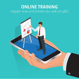 Bildungskonzept-on-line-Training Flache isometrische Konzepte des Entwurfes für on-line-Bildung, on-line-Ausbildungskurse, Person stock abbildung