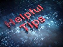Bildungskonzept: Rote hilfreiche Tipps auf digitalem Hintergrund Lizenzfreie Stockfotografie