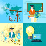 Bildungskonzeptstudentenastronomie-Chemiesatz Stockbild