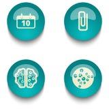 Bildungsnetz-Knopfsatz des blauen Grüns Lizenzfreies Stockfoto
