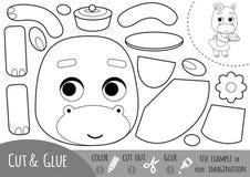 Bildungspapierspiel für Kinder, Flusspferd und Kuchen lizenzfreie abbildung