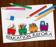 Bildungsreform, die das Ändern zeigt, Illustration 3d lernend Lizenzfreie Stockfotos