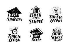 Bildungssatz Aufkleber oder Ikonen Schule, Collegekonzept Beschriftungs-Vektorillustration Stockfoto