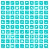 100 Bildungstechnologieikonen stellten Schmutz blau ein Lizenzfreies Stockfoto