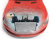 Bilelementet inom bilen 3d framför på vit stock illustrationer