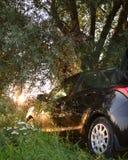 Bilen är svart i natur i strålarna av inställningssolen arkivfoto