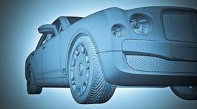 Bilen 3D modellerar Arkivfoto