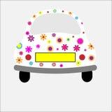 bilen blommar skraj retro royaltyfri illustrationer