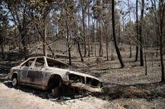Bilen brände vid vägen på en skogsbrand - stora Pedrogao Arkivbilder
