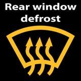 Bilen för det bakre fönstret tinar knappsymbolet - gul version rengöringsduk för diagramsymbolsillustration vektor illustrationer