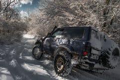 Bilen går på vägen i en snöig skog arkivfoto