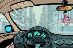 Bilen i staden, beskådar från inre kabinen stock illustrationer