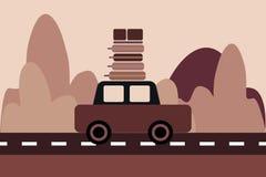 Bilen med bagage rider överst på huvudvägen stock illustrationer