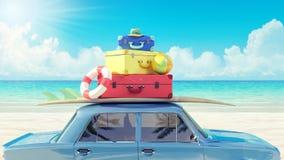 Bilen med bagage som är klart för sommarsemestern 3D, framför vektor illustrationer