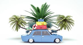 Bilen med bagage som är klart för sommarsemestern 3D, framför stock illustrationer