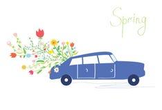Bilen och blommor fjädrar det retro kortet Arkivfoto