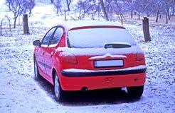 bilen räknade snow arkivbild