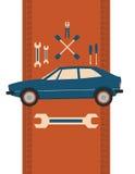 Bilen, skiftnyckeln och skruvmejseln också vektor för coreldrawillustration royaltyfri illustrationer