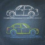Bilen skissar på den svart tavlan Fotografering för Bildbyråer